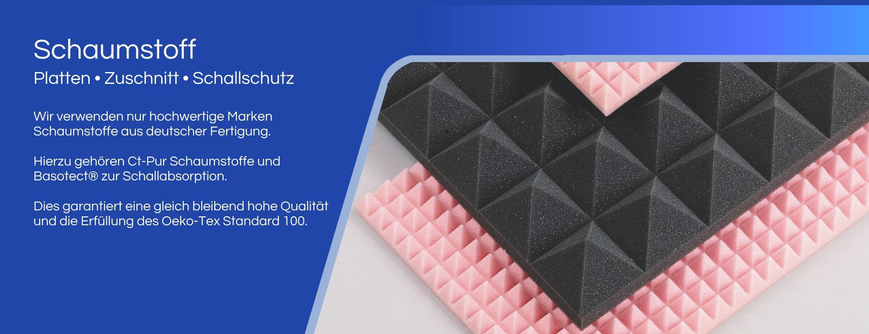 Schaumstoff Platten, Schaumstoff Zuschnitt, SChaumstoff Schallschutz. Wir vernden nur hochwertige Markenschaumstoffe aus deutscher Fertigung. Hierzu gehören Ct-Pu SChaumstoffe und Basotect zur Schallabsorption. Dies garantiert eine gleich bleibend hohe Qualität und die Erfüllung des Oeko-Tex Standard 100.
